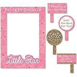 Bigドットの幸せのピンクTwinkle Twinkle Little Star – 誕生日パーティーベビーシャワーまたは写真ブース画像フレーム& Props – 頑丈な素材にプリント