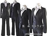 ノーブランド品 小さいサイズ 大きいサイズ 美脚パンツスーツ ビジネススーツ リクルートスーツ 287-72 289R-77 291T-82 5号 ストライプ・また下丈:82cm