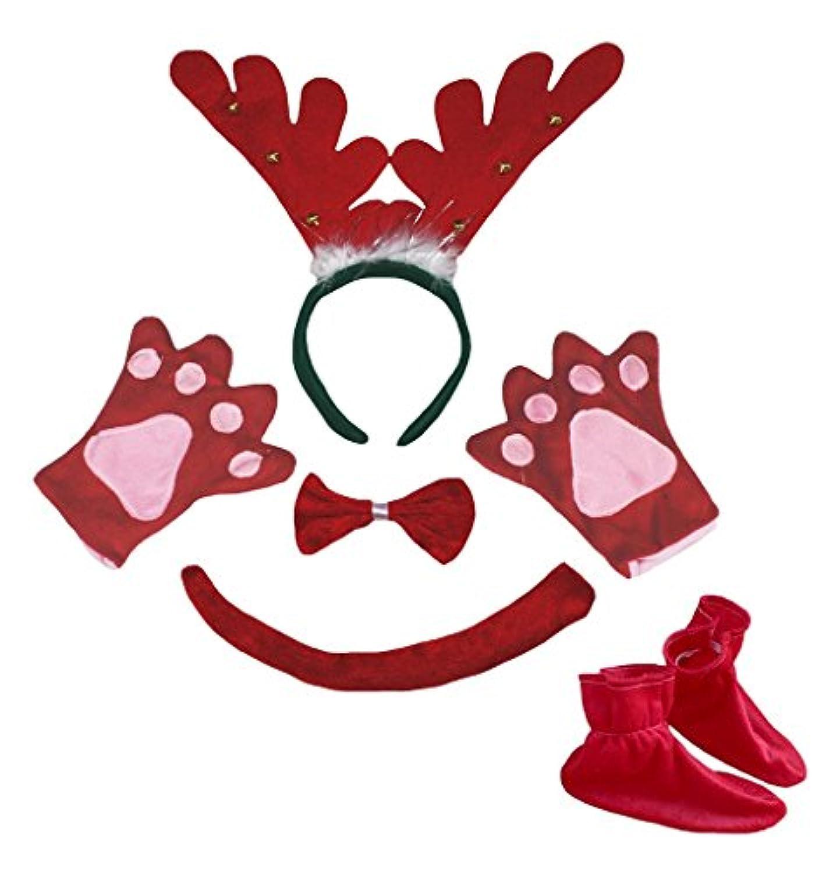 petitebellaレッドリングトナカイヘアバンドボウタイTailグローブ靴5pc子コスチューム
