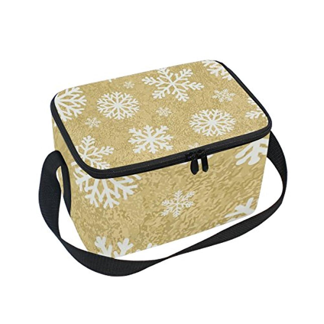 含意上がる敵対的クーラーバッグ クーラーボックス ソフトクーラ 冷蔵ボックス キャンプ用品 雪柄 金色 保冷保温 大容量 肩掛け お花見 アウトドア