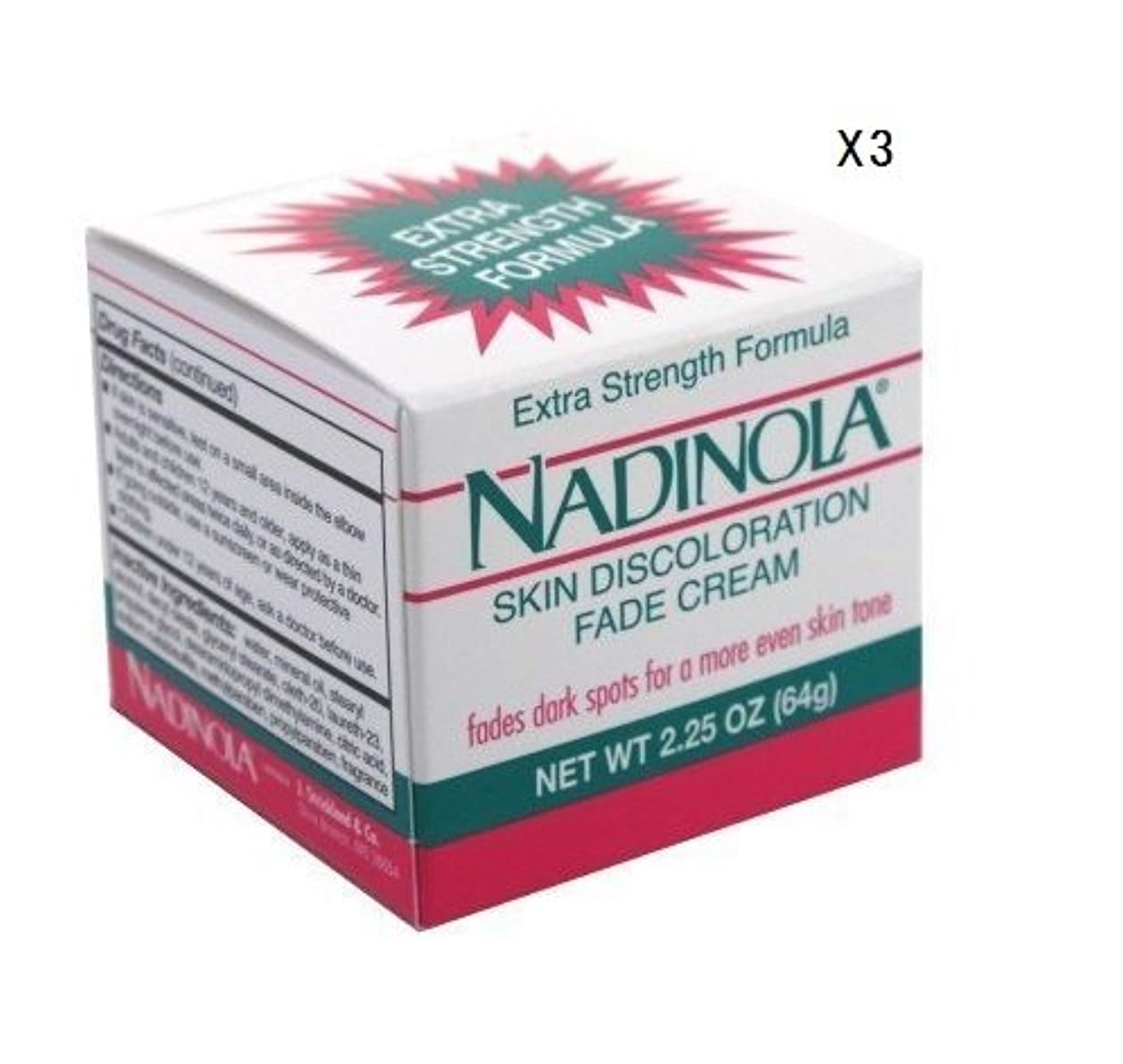 保存する出演者フレキシブル(海外直送品)強力美白クリーム (64g)ナディノラ Nadolina Skin Bleach - Extra Strength 2.25 Oz. (Pack of 3) by Nadinola