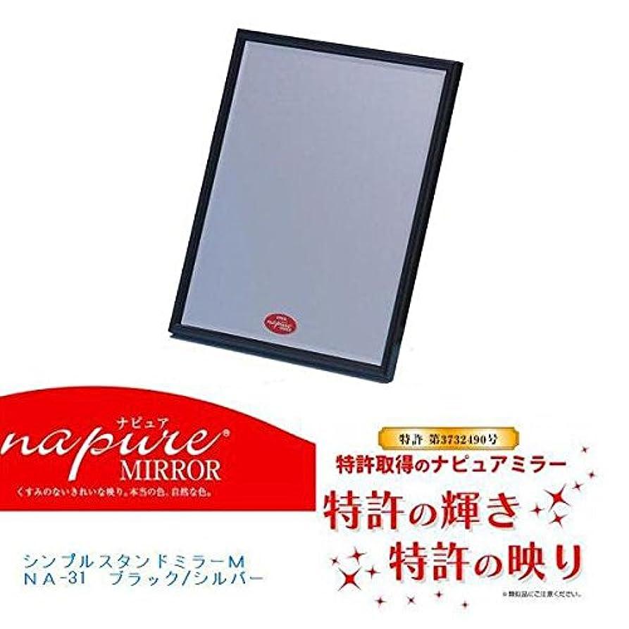 パーティション曲リンケージNA-31 ナピュア シンプルデザインスタンドミラー(M) ブラック