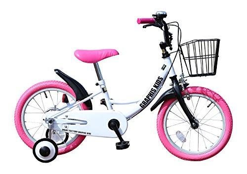 GRAPHIS(グラフィス) 補助輪付き子供用自転車 16インチ ホワイト/ピンク GR-16 ホワイトピンク [並行輸入品]
