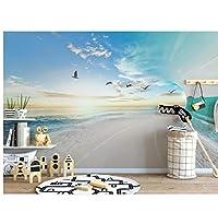 Wuyyii 3D壁紙カスタム壁画写真ヨーロッパの新鮮さ3D海の空の背景の壁画3D壁壁画の壁紙壁3 D