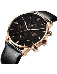 腕時計、メンズレディース腕時計、ブラッククォーツアナログ防水ビジネスファッション多機能時計(ローズゴールド)
