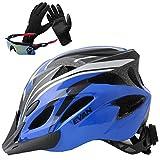 EVAN(エヴァン)超軽量 高剛性 自転車 ヘルメット 通勤 サイクリング ロードバイク 大人用 安全カラーサイクリンググローブ サングラス 付 ブラック&ブルー