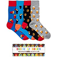 Novelty Gift Box Set of 4 Funny Socks for Men, Funky, Groovy, Crazy and Silly in Bright Colours and Fun Graphic Patterns - Great Father's Day, Birthday, Christmas - Stylish Retro Box. Shipped from Australia