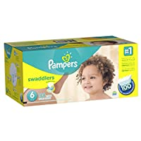 Pampers Swaddlers Diaper Size 6 Economy Pack Plus 100 Count (Packaging May Vary) by Pampers