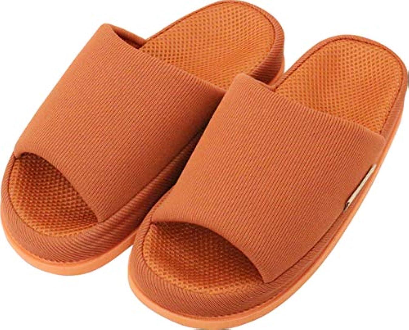 温室熱帯の別れる足で癒す リフレクソロジースリッパ リフレ 中心 ダークオレンジ L