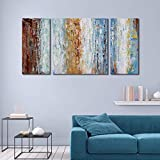 Abstract Oil Painting 100% Hand-Painted Large 3 Pieces Gallery-Wrapped Wall Art on Canvas Framed Wall Picture for Living Room Bedroom Home Decoration 24x48inch