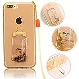 Vandot iPhone 7 Plus tpu ケース 5.5 インチ 薄型 ソフト TPU シリコン アイフォン7 plus クリアケース ミルク瓶 デザイン キラキラ ラインストーン シャイニング 流砂 付き オシャレ 可愛い 高級感がある 防塵 ストラップ 付き-ゴールド