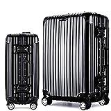 Osonmアルミニウムマグネシウム合金製 スーツケース キャリーバッグ 機内持ち込みスーツケース TSAロック 自在車 キャスター 5色6013 (XL, ブラック)