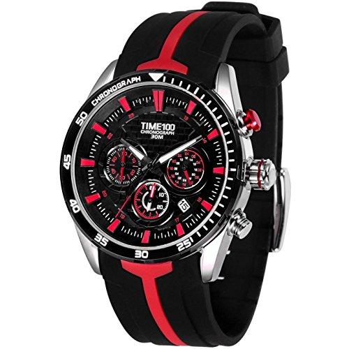 Time100 腕時計 多機能 スポーツ 日付表示 ストップウオッチ 夜光インデックス シリコーン 30M防水腕時計 メンズ#W70103G.04A (赤い)