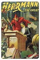 22cm x 30cmヴィンテージハワイアンティンサイン - レオン・ハーマン・ザ・グレート - ヴィンテージ魔法のポスター c.1900