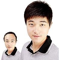 J&S 人気 人毛100% 手植え かつら 医療用 ウィッグ カジュアル ビジネス 男性用 ショートウィッグ フルウィッグ 自然 通気性抜群 男性 ブラック 黑 フリーサイズ wig (ネット 付き)