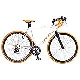 GRAPHIS(グラフィス) ロードバイク 700c 14段変速 STI デュアルコントロールレバー GR-TIAMO ホワイト/オレンジ