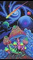 Psychedelicタペストリー–Cosmic Shroom–UVアクティブwall-hanging–手バティック&シルクスクリーン。