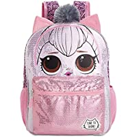 L.O.L. Surprise Kitty Queen Pink/Silver Sequin Backpack with 3D Ears and Pom Pom