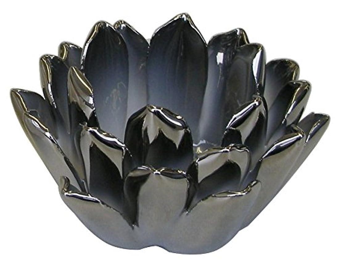 考えエッセイアイデアマルエス 燭台 陶器製 ロータス 小 シルバー
