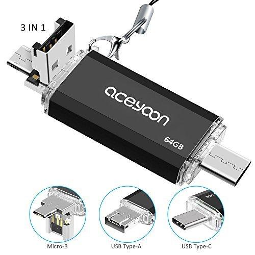 aceyoon USB Type C メモリ 64gb OTG対応 高速データ転送 タイプc+USB A+Micro USB フラッシュメモリ 3in1 小型 容量不足解消 Androidスマホ/タブレット / New Macbook/Chromebook Pixel/Windowsなどのパソコン対応