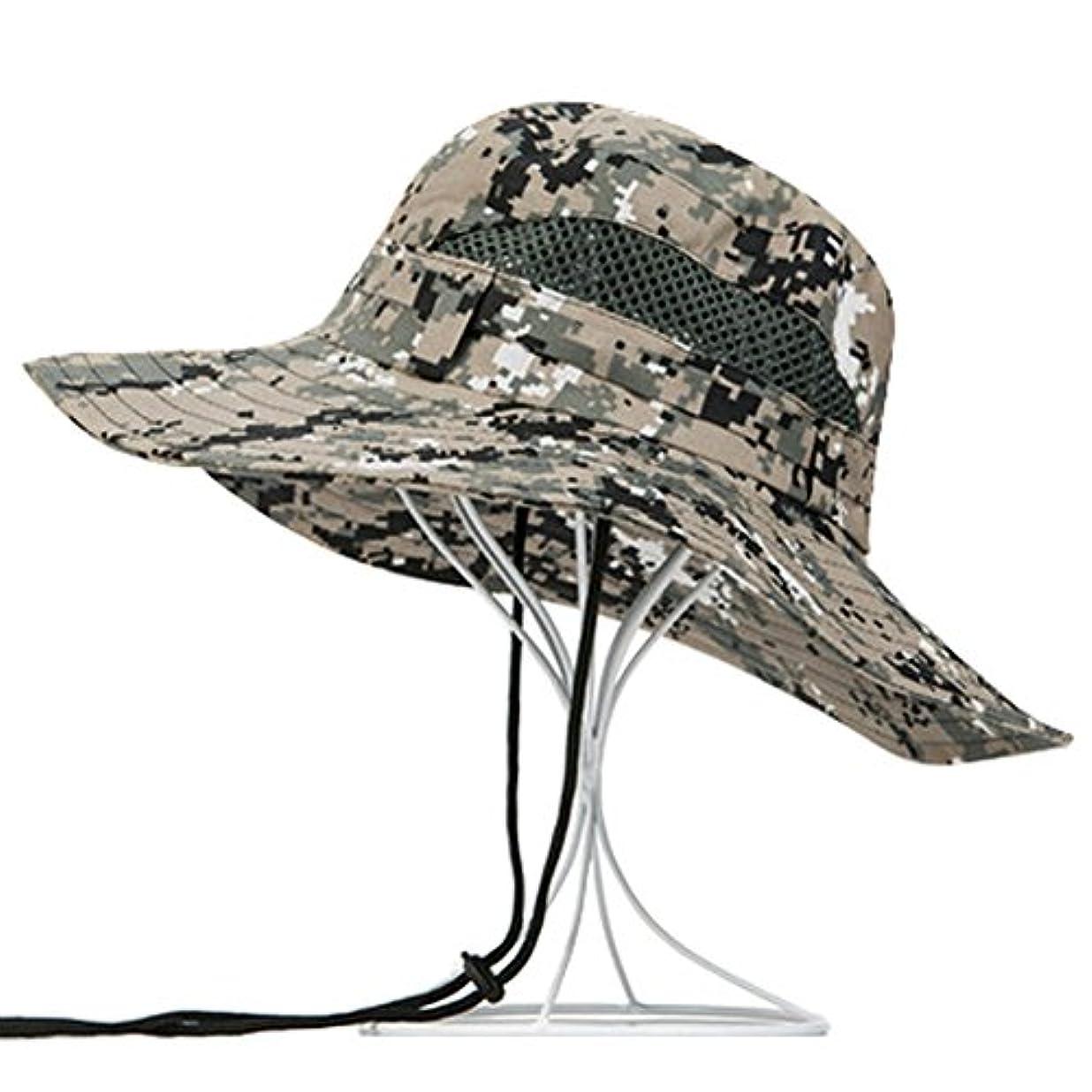 メンズFoldableスポーツサン帽子日キャップ釣り帽子カウボーイハット、L