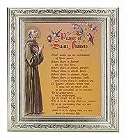 """Prayer of St Francis装飾シルバーフレーム10"""" x 12""""全体寸法1–3/ 8"""" Wide Facing toフィットに8"""" x 10""""イタリアリトグラフ[ガラス"""