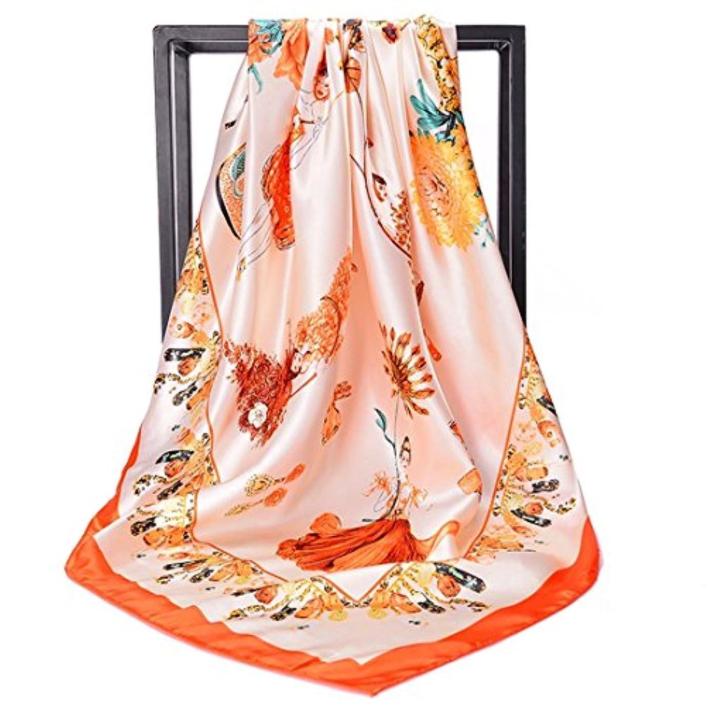 と代理店防衛Exonlyone 女性の女性の女性のための大規模なスクエアスカーフの印刷されたスカーフ、90X90CM