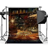 5x 7ft / 150x 210cmシーンビニール写真バックドロップハロウィンドリーミーMysteriousブックスケルトンシームレスな子供大人ハッピーハロウィン仮面舞踏会肖像画背景Studio Prop mp424