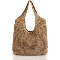 QTKJ Hand-woven Soft Large Straw Shoulder Bag Boho Straw Handle Tote Retro Summer Beach Bag Rattan Handbag (Khaki)