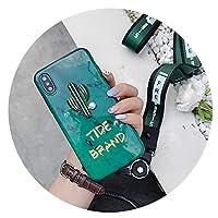 エメラルドXモバイルケースfor iPhone8おしゃれブランドサボテンソフトケース6/7かわいいフルーツ付きストラップ,for iPhone6P/6sP蝶ネクタイストラップ