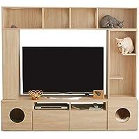 LOWYA (ロウヤ) テレビ台 キャットウォーク 猫ハウス×2 トンネル リアル木目調 大容量収納 可動棚 各テレビサイズ対応 180cm ナチュラル おしゃれ 新生活
