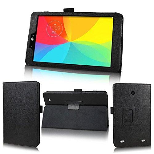 wisers 保護フィルム・OTGケーブル・タッチペン付 LG G Pad 8.0 V480 & L Edition LGT01 / J:COM タブレット 専用 ケース カバー ブラック