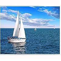 5D Diyの風景海のヨットの壁の装飾ギフト、刺繍クロスステッチアートモザイク、フルドリル、50X60Cm用のキットによるダイヤモンド塗装