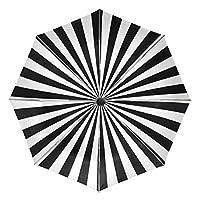 ミヤビヤ ワンタッチ 折り畳み傘 ボーダー模様 縞柄 ストライプ柄 ブラック たたみ 黒 ビニール 本格 通学 格好良い カッコイイ 日用雑貨 グッズ きっず 内側 うちがわ 贈り物