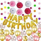 LEDMOMO 誕生日 飾り付け セット ゴールド ローズゴールド 紙吹雪 きらきら風船飾り HAPPY BIRTHDAY 装飾 バースデー セット デコレーション 男の子 女の子