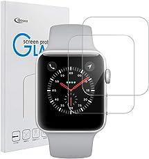 Apple Watch Series 4 44mm 強化ガラスフィルム Qosea 二枚入り 液晶保護フィルム 日本AGC旭硝子社 国産ガラス 高透過率 硬度9H 指紋防止 飛散防止 超薄0.3mm 2.5D ラウンドエッジ加工