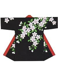 【よさこい衣装?袢纏?法被】長袢天 黒 桜 B8561