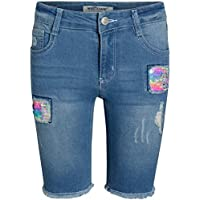 'WallFlower Girls Bermuda Soft Stretch Denim Shorts (Rainbow Sequins, 16)'