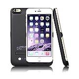 【iphone6plus バッテリーケース/5.5inch/4200mA/black】 iphone6 対応ケースカバー型モバイルバッテリー 4200mAh ラバーオイル仕上げにより触り心地もなめらか