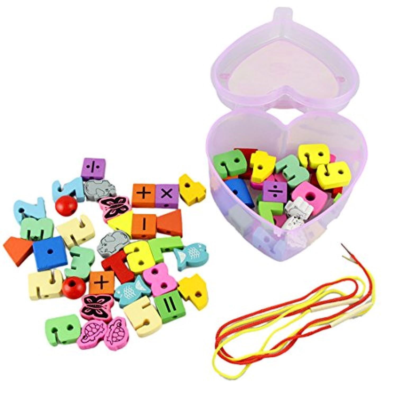 DDLBiz Wooden Toys Stringingゲーム子おもちゃビーズミックス動物フルーツギフト