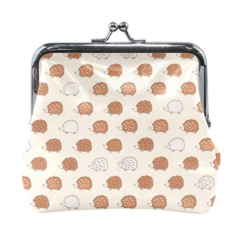 がま口 小銭入れ 財布 かわいい ハリネズミ コインケース レザー製 丸形 軽量 人気 おしゃれ プレゼント ギフト 雑貨