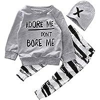 サクララ(Sakulala) ベビー服 ベビー 女の子 男の子 赤ちゃん服 柔らかい 綿 上下セット 帽子付き 長袖Tシャツ ロングパンツセット 3-12ヶ月 春秋 3点セット (90)