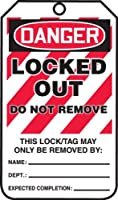 Accuform Signs MLT418PTP Lockout Tag Legend DANGER LOCKED OUT DO NOT REMOVE 5.75 Length x 3.25 Width x 0.015 Thickness RP-Plastic Red/Black on White (Pack of 25) [並行輸入品]