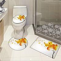 jwchijimwyc抽象3dデジタル印刷モダン花柄デザインとBurtsと詳細Leaves Romanticイメージ3 Pieceシャワーマットセットピンクパープルとオレンジ 17