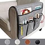 X-large Anti-slip Luxury Sofa Armrest Organizer Durable Soft Caddy Storage Organizer Holder, for Phone, Book, Magazines, TV Remote (Gray)