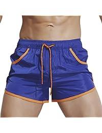 ソリッドカラー メンズクールなサーフパンツ 快適なホームショーツ (色 : Color blue, サイズ : XXL)