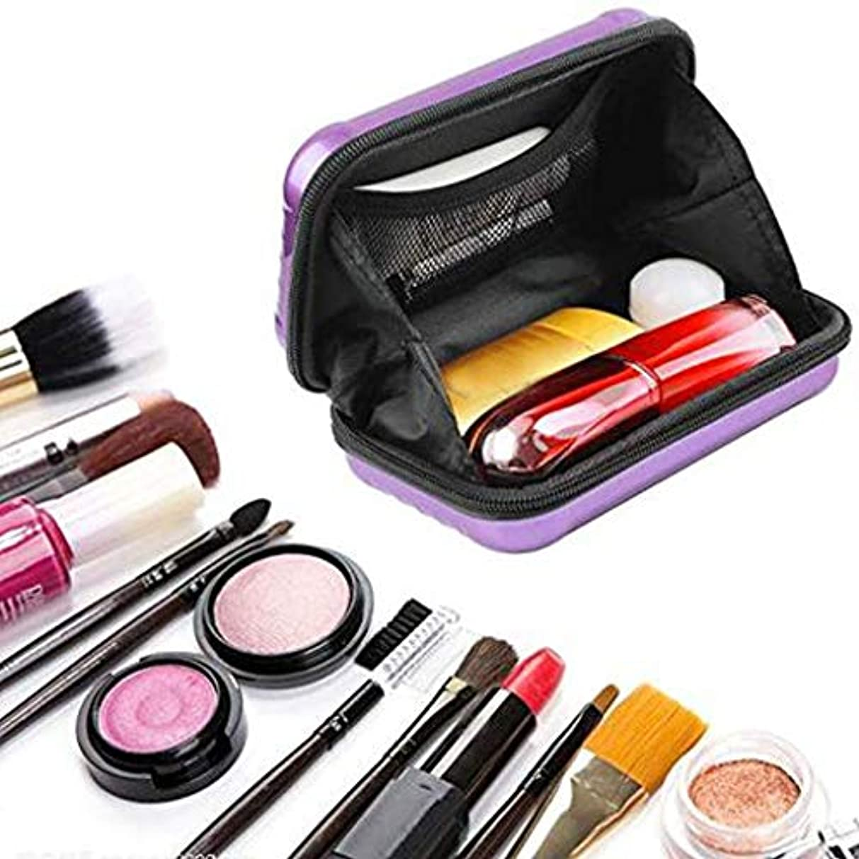 異形の頭の上差別ミニポータブル旅行化粧品バッグ、女性のための防水/クラッシュ防止化粧バッグ、スーツケース化粧品ハンドバッグ (紫の)