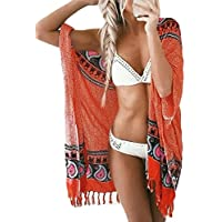 Bsubseach Women Bohemian Chiffon Bikini Swimsuit Cover Up Swimwear Tassel Cardigan