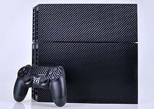 大切なPS4を埃や汚れから保護 PS4専用 3Dカーボンカバー スキンシール 本体用&コントローラー用×2枚 (ブラック)