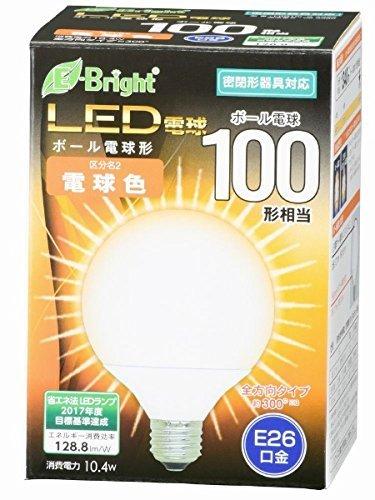 ボール電球形 E26 100形相当 電球色 10.4W 1340lm 全方向 127mm OHM 密閉器具対応 LDG10L-G AG22 06-3380